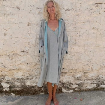 Muslin Hooded Robe Grey-Turquoise