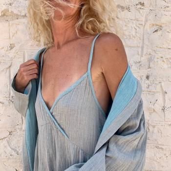 Muslin Slip Dress Grey-Turquoise