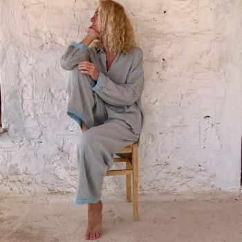Muslin Pants Grey-Turquoise