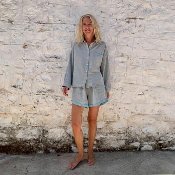 Muslin Shirt Grey-Turquoise