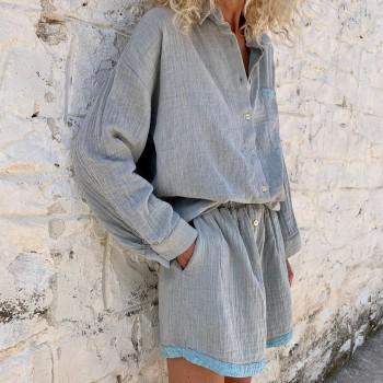 Muslin Short Grey-Turquoise