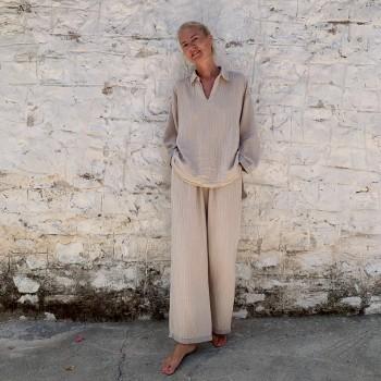 Muslin Pants Taupe-Grey