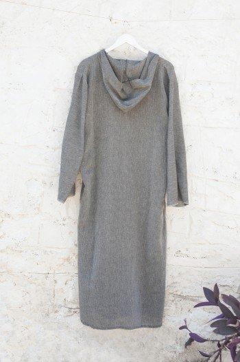 Charcoal Sile Hooded Caftan