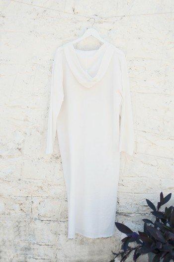 White Sile Hooded Caftan