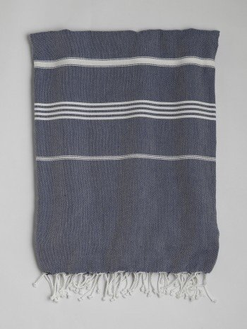 Marine-White Classic Large Turkish Towel