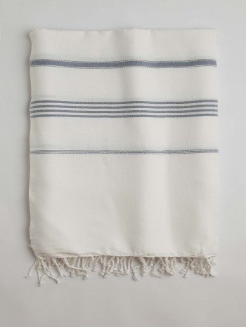 White-Jeans Blue Classic Large Turkish Towel