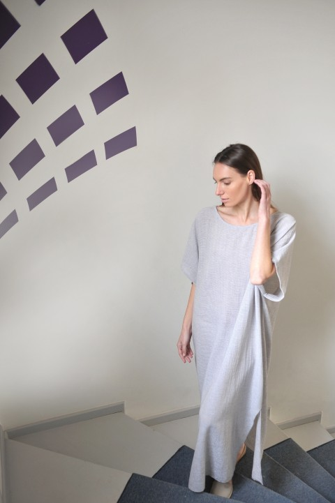 Grey Striped Sile Caftan Dress