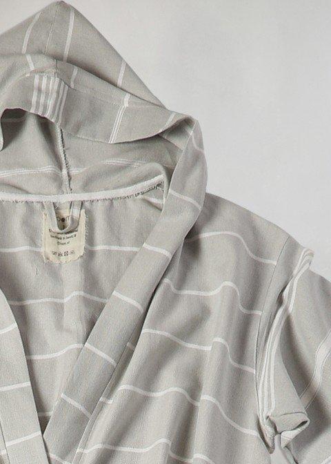 Light Grey-White Classic Hooded Bathrobe