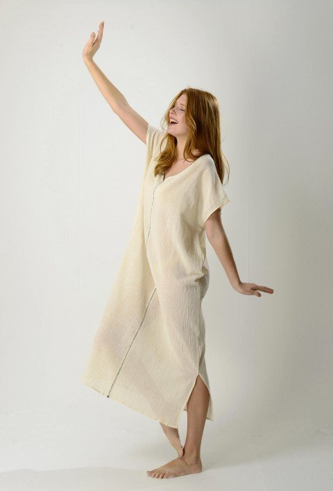 Natural Sile V Neck Caftan Dress