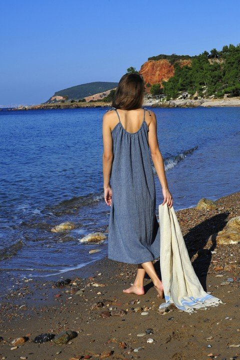 Marine Sile Slip Dress