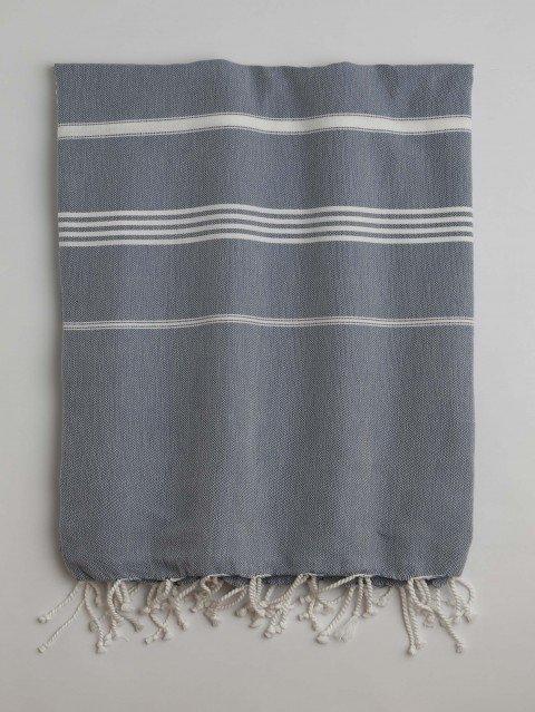 Marine-White Classic Large Turkish Towel