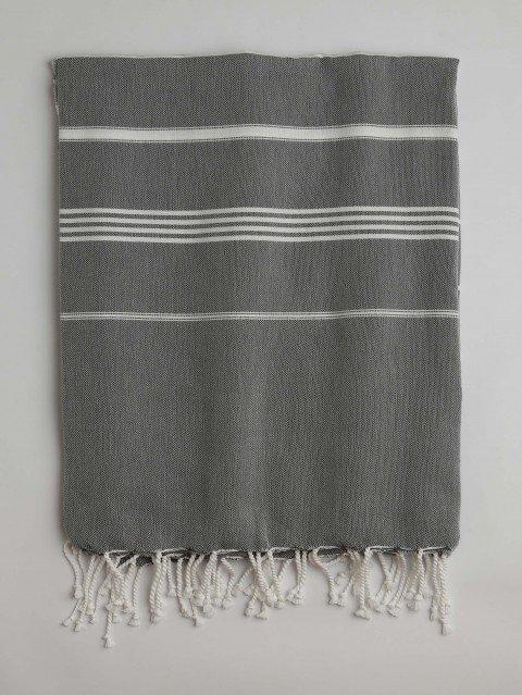 Dark Grey-White Classic Large Turkish Towel