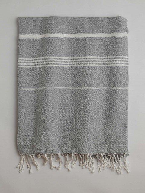 Grey-White Classic Large Turkish Towel