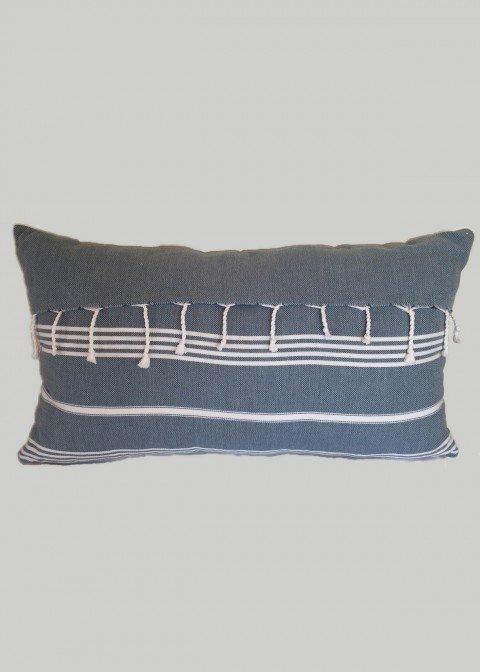 Jeans Blue Fringe Pillow Cover