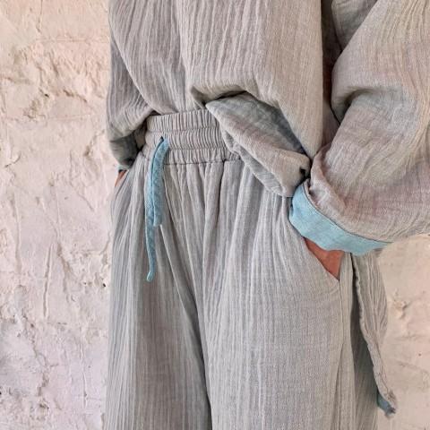 Muslin Tunic Grey-Turquoise