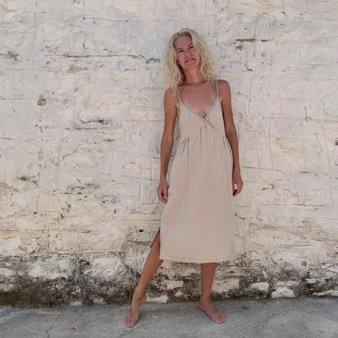 Muslin Slip Dress Taupe-Grey