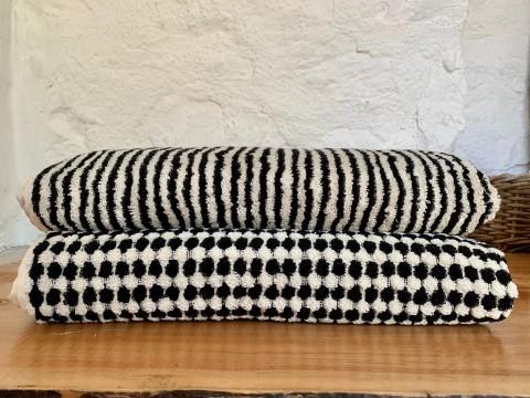 Black-White Striped Terry Bath Towel