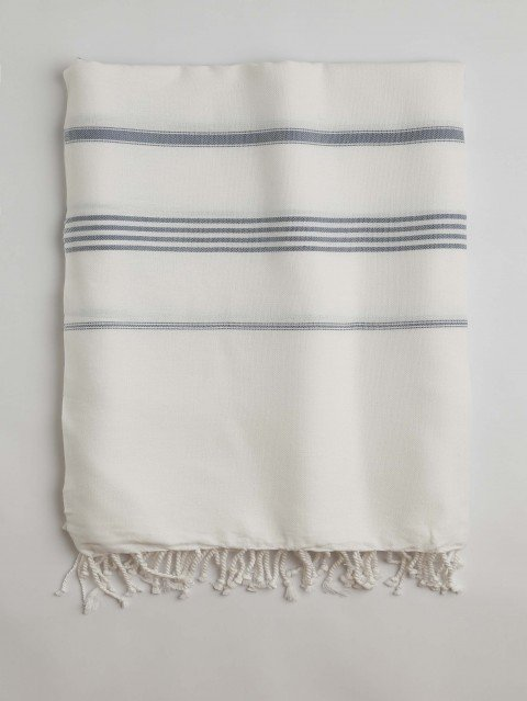 White-Jeans Blue Classic Large Turkish Towel