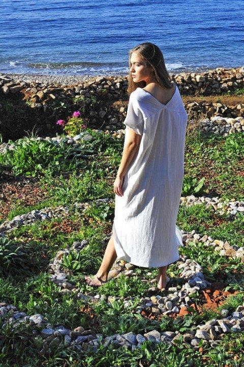 White Sile V Neck Caftan Dress
